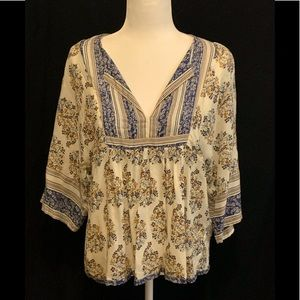 Lucky Brand top, floral/paisley sheer, S